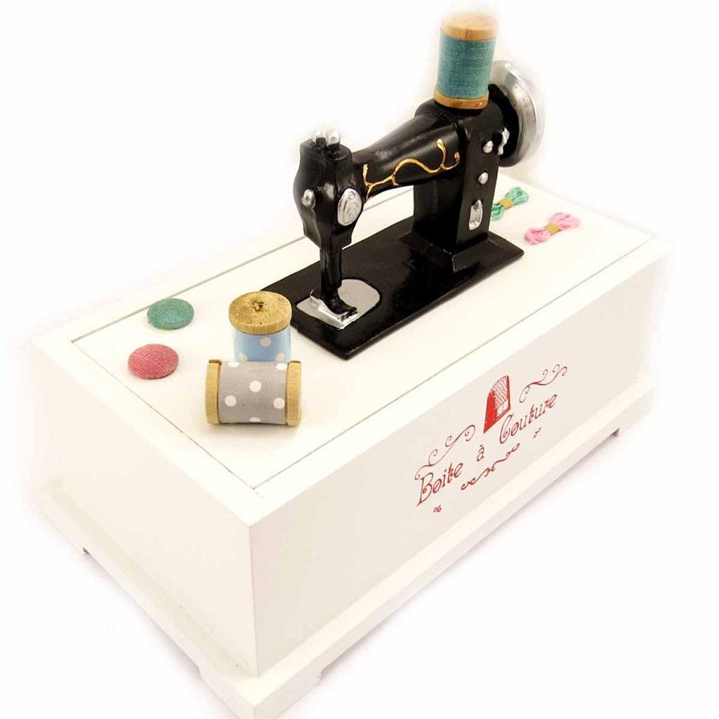 Boîte à couture \'Machine à Coudre\' blanc - [L4787]