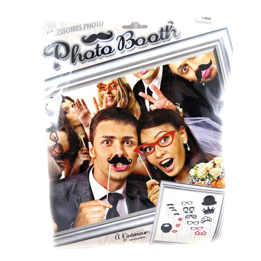 Accessoires \'Photo booth\'  rouge noir (17 pièces) Lunettes moustaches - [L4808]