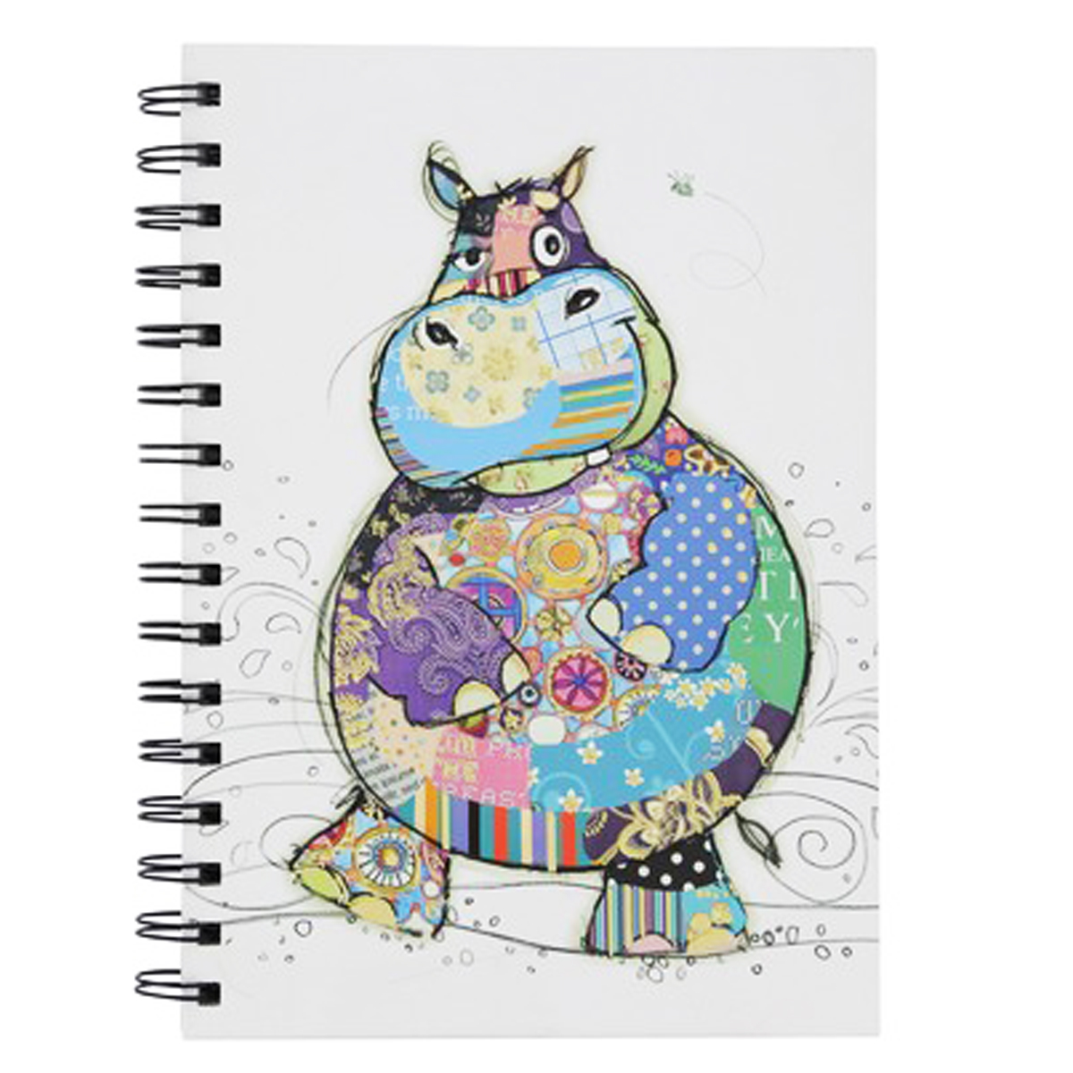 Carnet à spirales A6 \'Bug Art\' multicolore (Hippopotame Harry) - 145x105x12 cm - [Q2812]