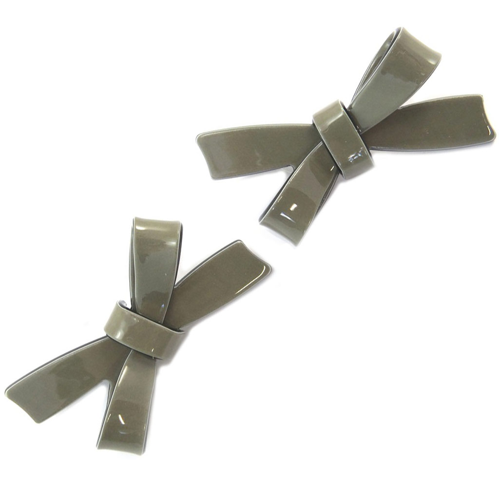 2 barrettes / pinces pélican \'Sissi\' gris taupe (noeuds) - 65x30 mm - [P6267]