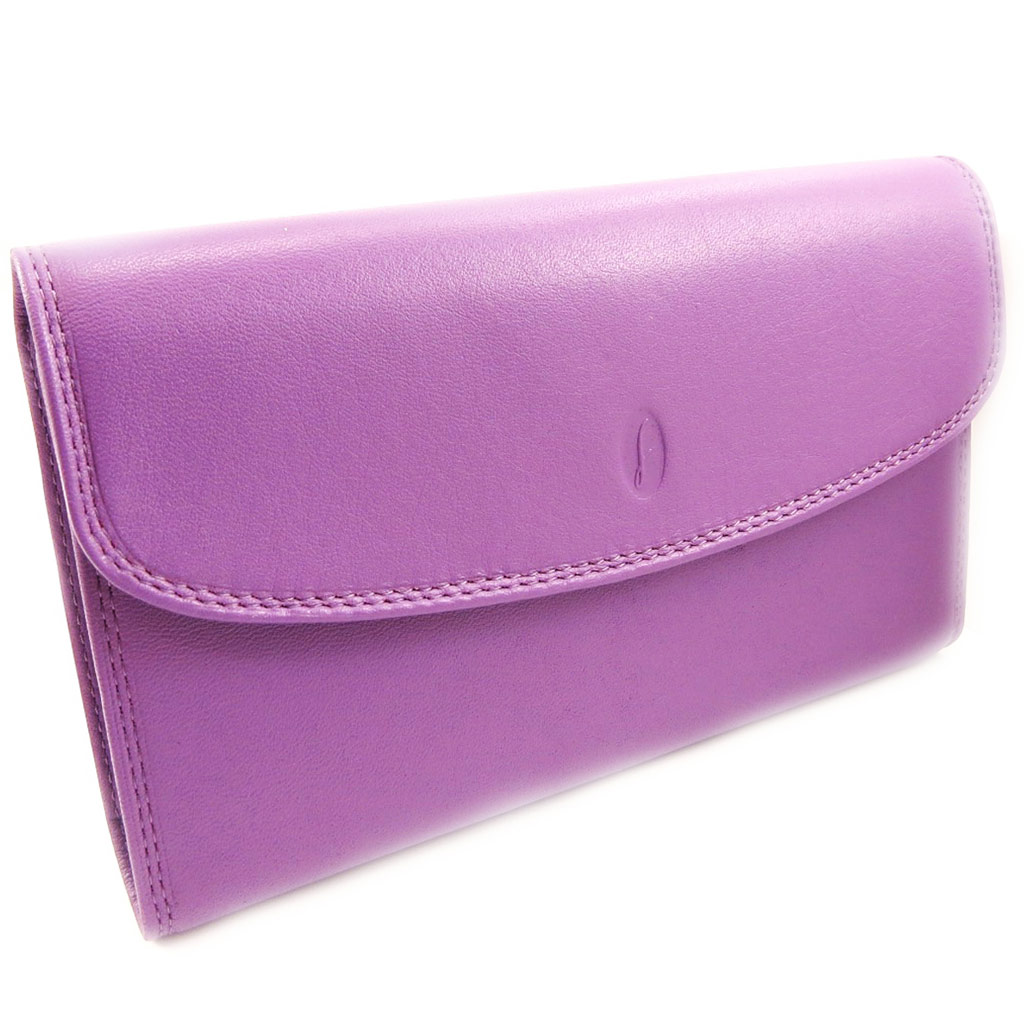 Compagnon cuir \'Del Arte\' violet - 11x19 cm - [L4851]