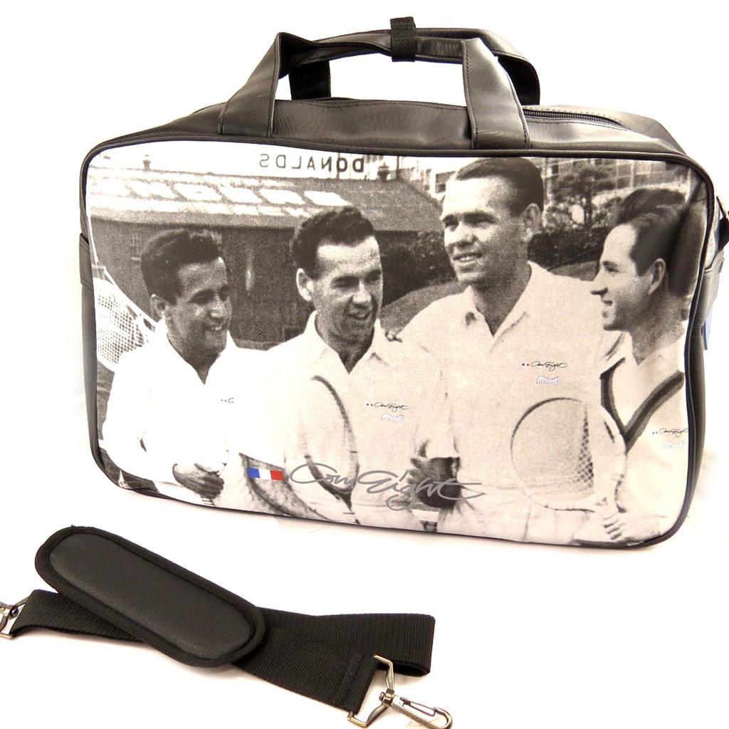 Besace bandoulière \'Vintage Tennis\' noir blanc - [L4904]