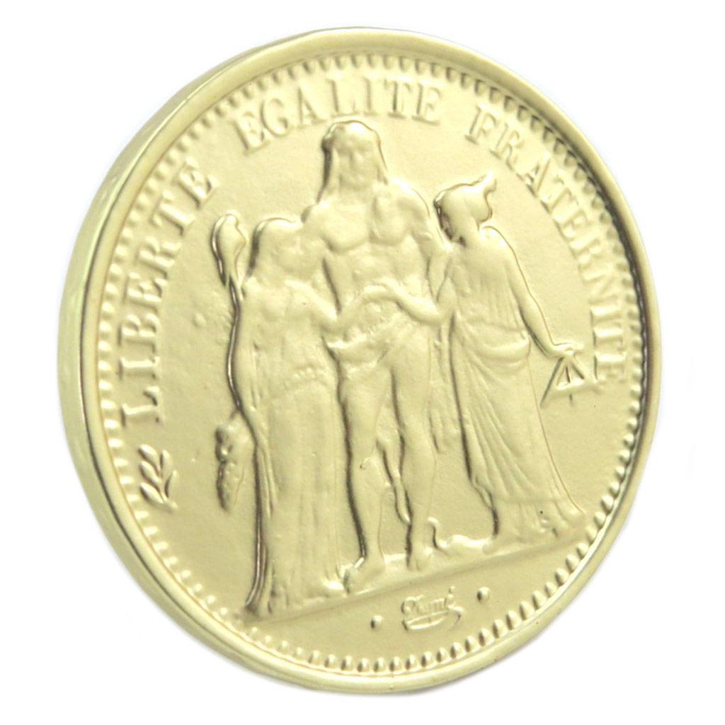 Bague Créateur \'Liberté Egalité Fraternité\' doré - pièce 35 mm - [P6381]