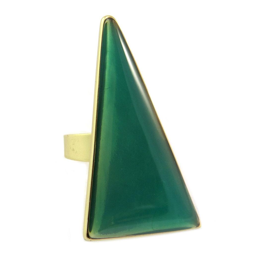 Bague Créateur \'Nora\' vert doré - 50x25 mm - [P6402]