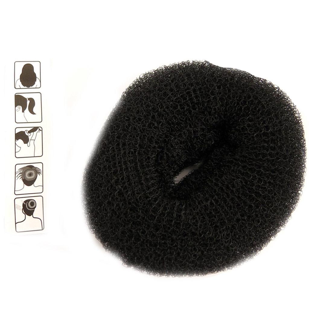 Donut à chignon \'Simplicité\' noir (10 cm) - [L5088]