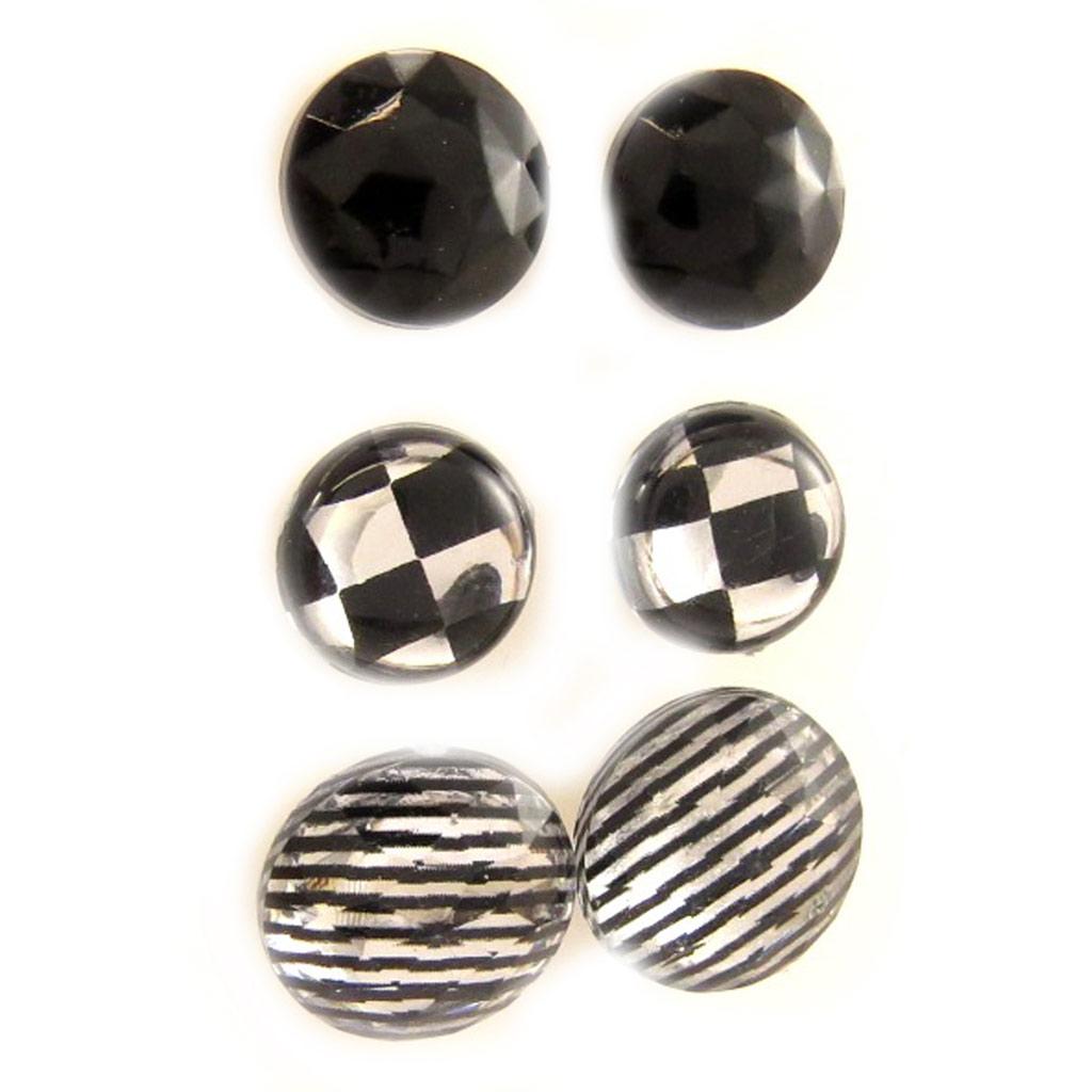 3 paires de boucles \'Coloriage\' noir gris blanc - [L5164]