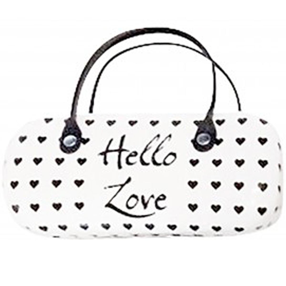 Etui à lunettes créateur \'Boho\' blanc (hello love) - 15x135x45 cm - [Q3027]