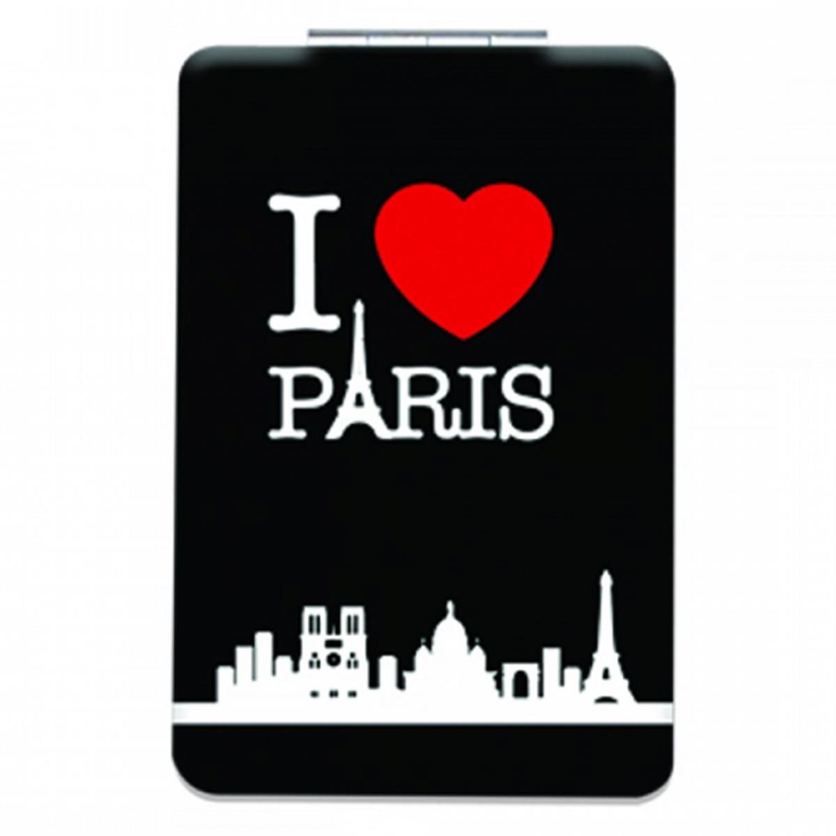 Miroir de poche \'I love Paris\' noir - 85x55 cm - [Q3105]