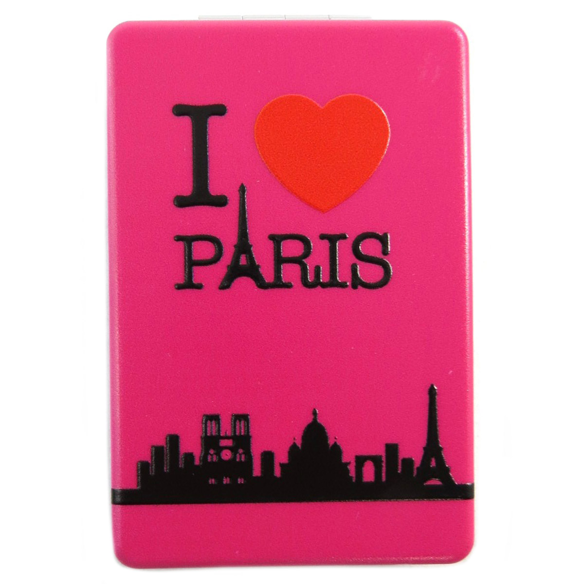 Miroir de poche \'I love Paris\' fuschia - 85x55 cm - [Q3107]
