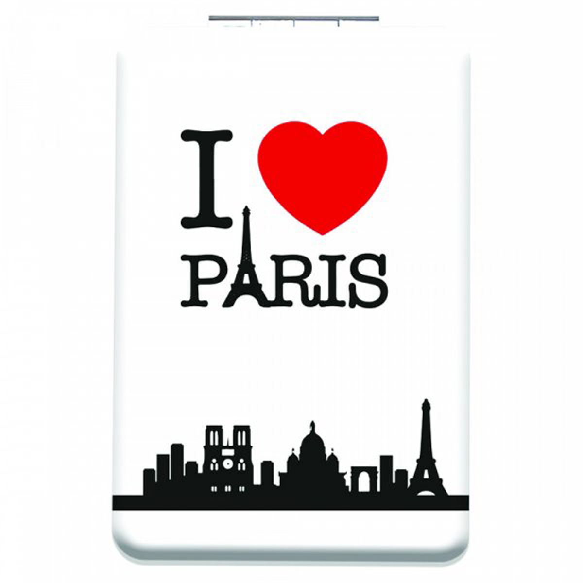 Miroir de poche \'I love Paris\' blanc - 85x55 cm - [Q3111]