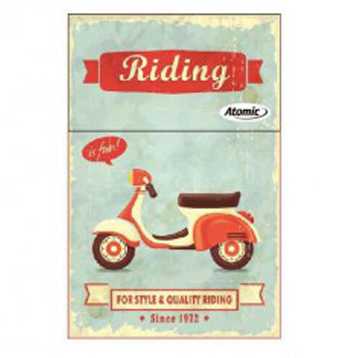 Etui à paquet de cigarettes \'Scooter Rétro\' bleu rouge (Riding is fun) - 85x5 cm - [Q3226]