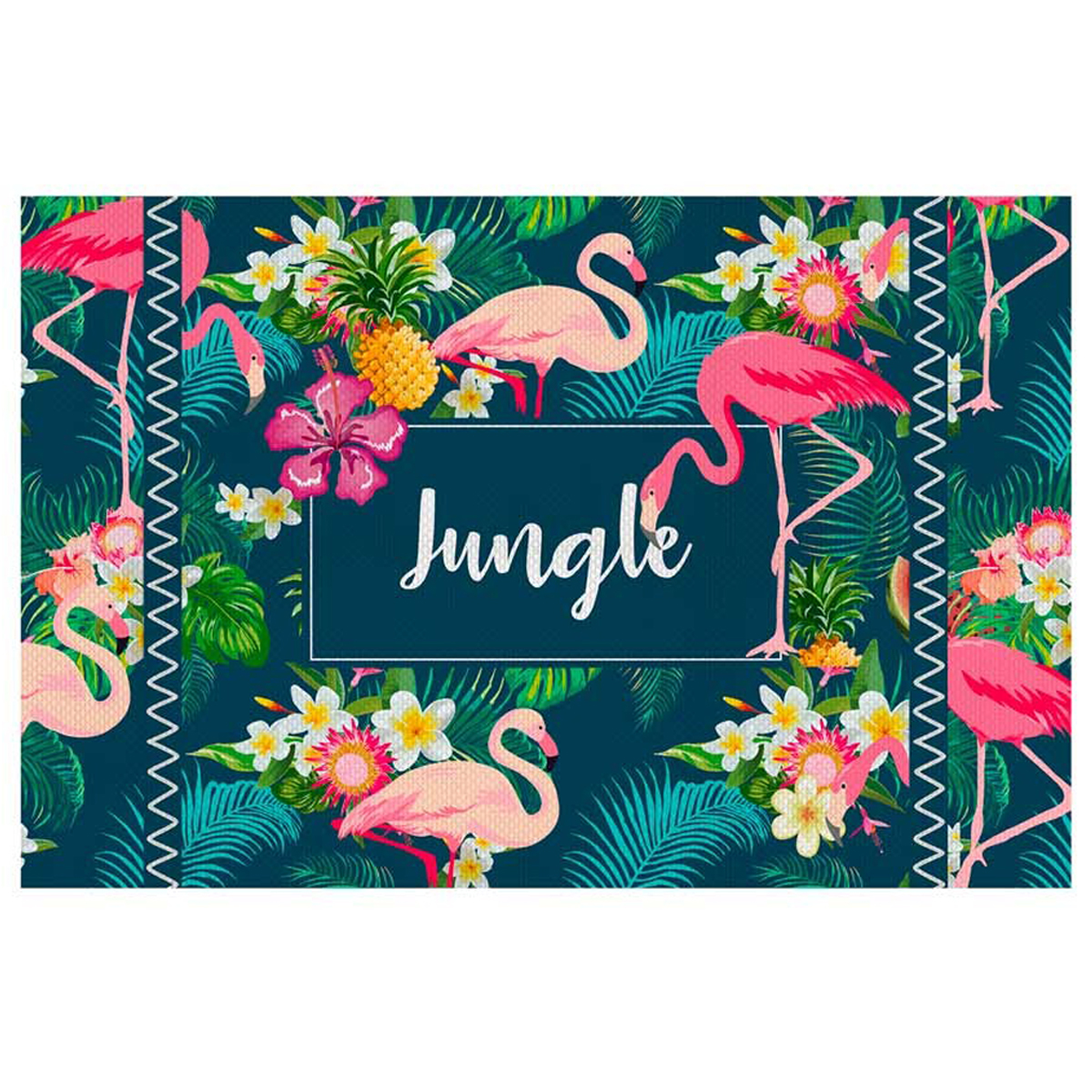 Set de table plastifié \'Tropical\' flamant rose (Jungle) - 43x28 cm - [Q3241]
