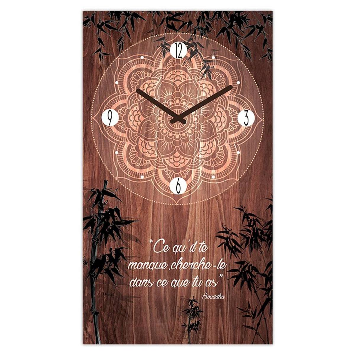 Horloge Murale \'Boho\' marron (Ce qu\'il te manque, cherche-le dans ce que tu as - Bouddha) - 49x28 cm - [Q3247]