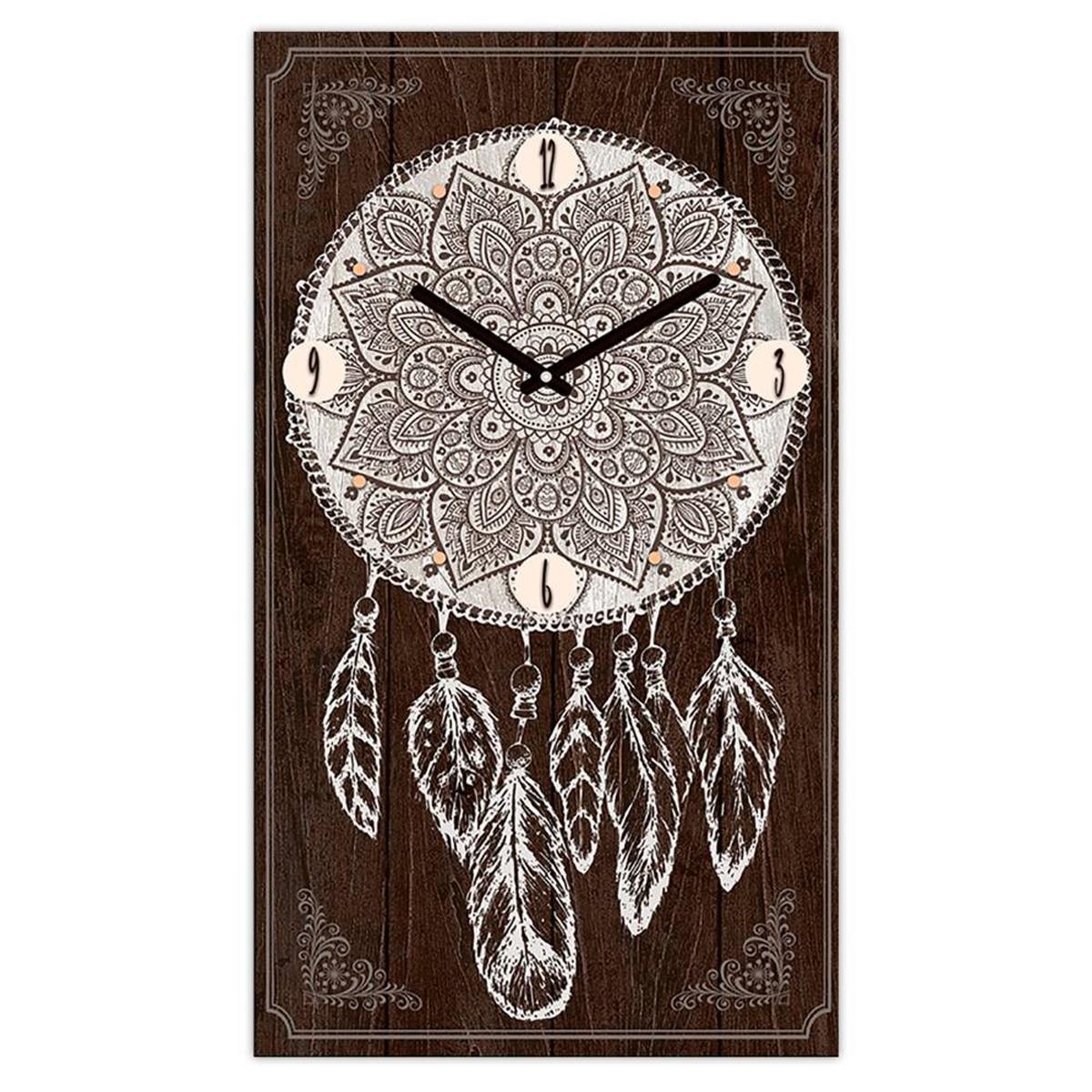Horloge Murale \'Boho\' marron (dreamcatcher) - 49x28 cm - [Q3248]