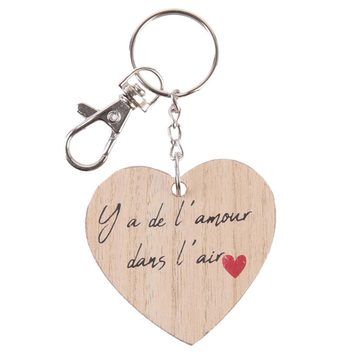 Porte-clés bois coeur \'Mots d\'Amour\' beige (Y\'a de l\'amour dans l\'air) - 5x5 cm - [Q3270]