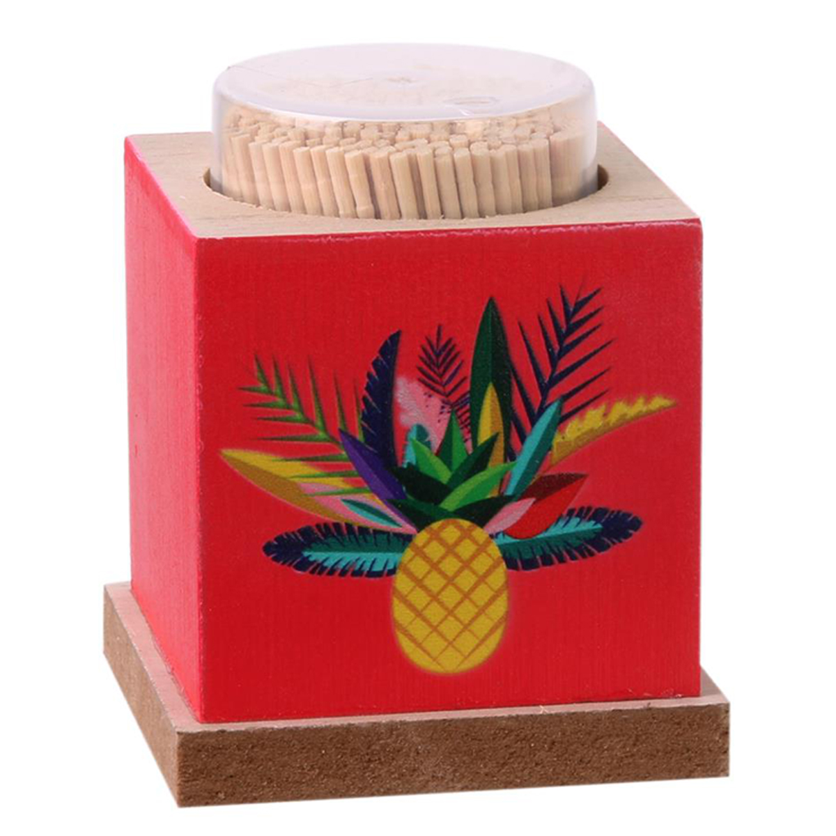 Cure-dents bois \'Tropical\' rouge multicolore (ananas) - 75x60 mm - [Q3278]