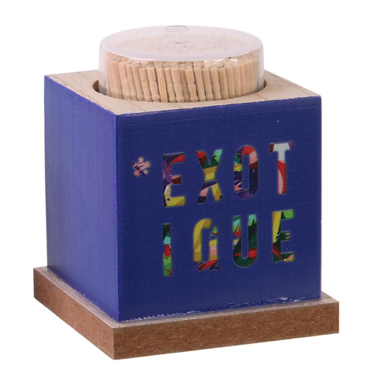 Cure-dents bois \'Tropical\' bleu multicolore (Exotique) - 75x60 mm - [Q3279]