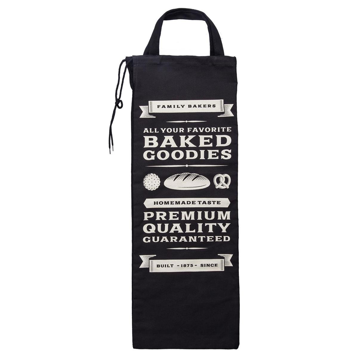 Sac à pain coton \'Baked Goodies\' noir - 70x27 cm - [Q3284]