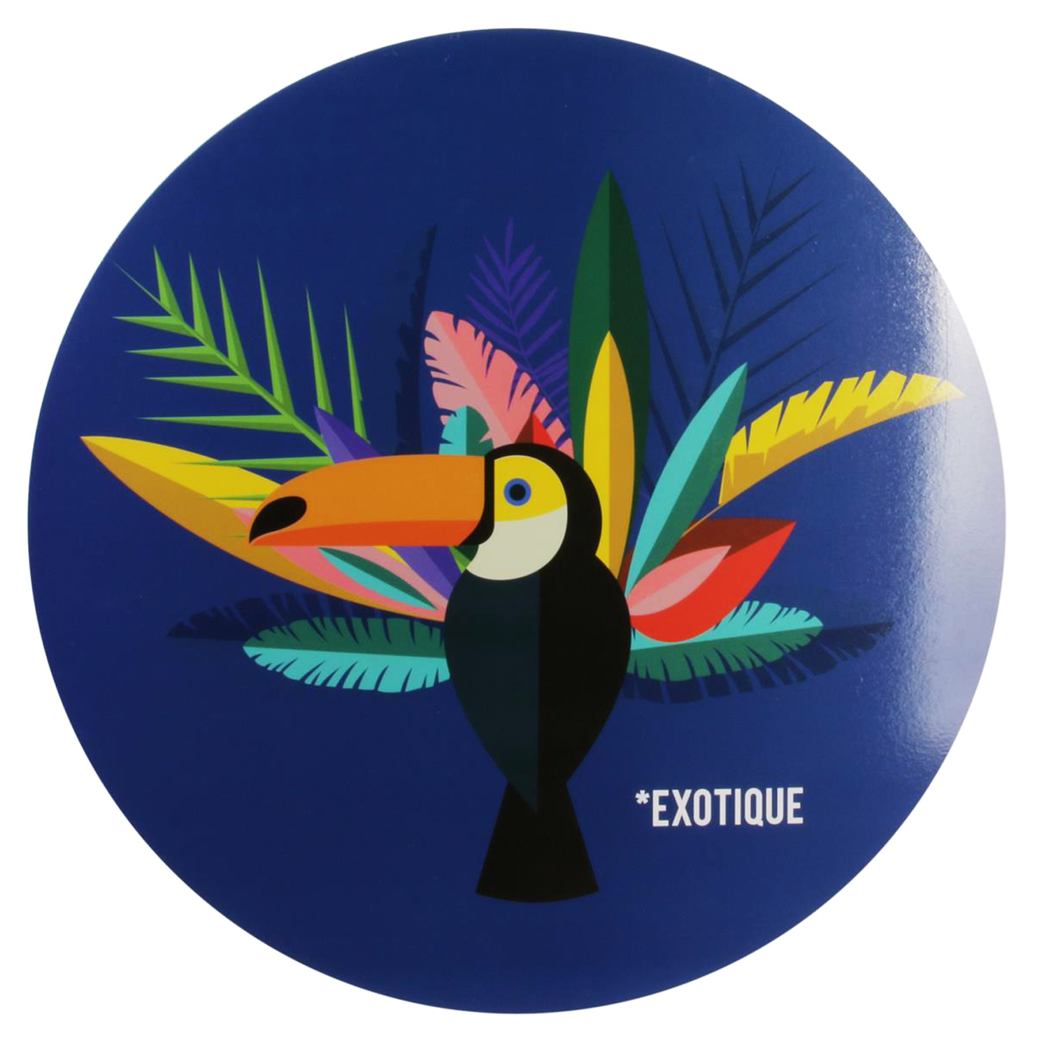 Set de table rond \'Tropical\' bleu (Toucan Exotique) - 35 cm - [Q3295]