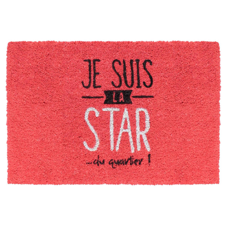 Paillasson coco \'Messages\' rouge (je suis la star du quartier) - 60x40 cm - [Q3297]