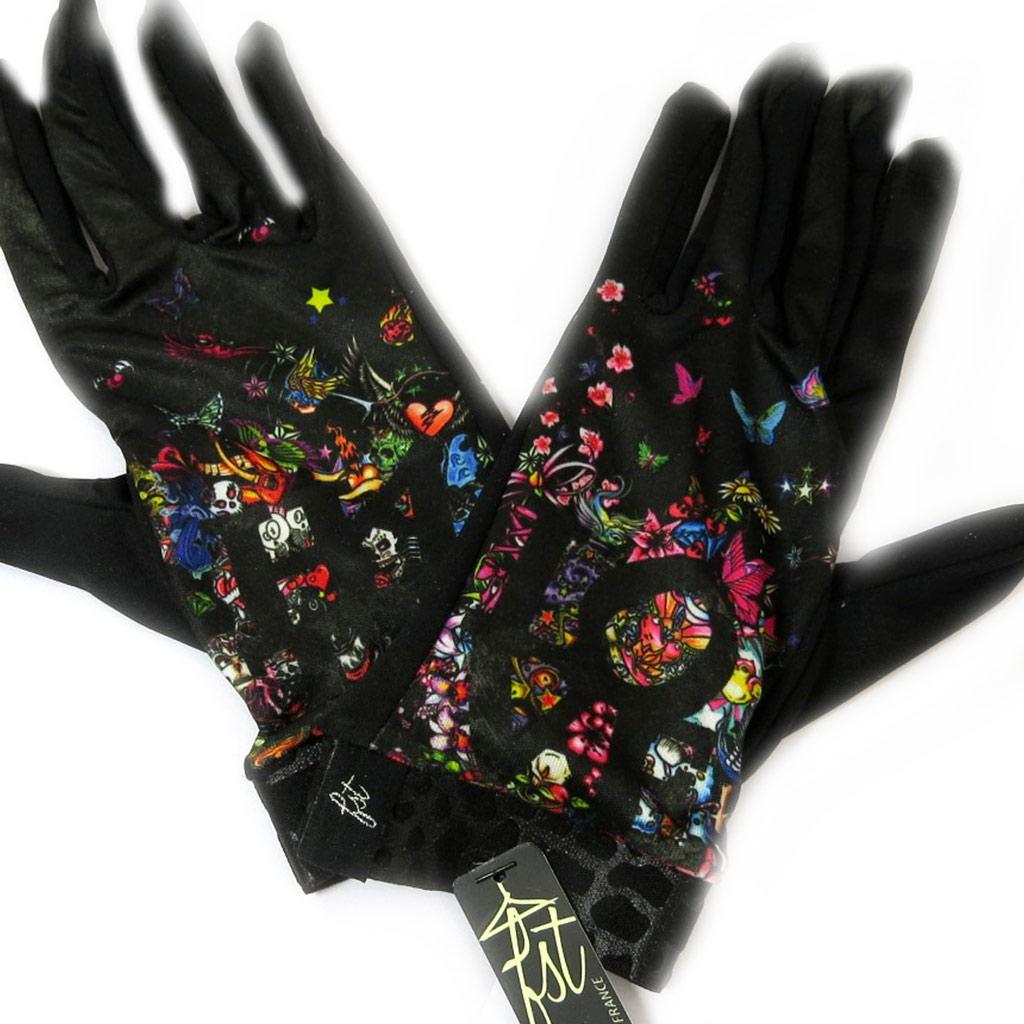 Gants créateur \'Love Emotions\' noir multicolore - [L5376]