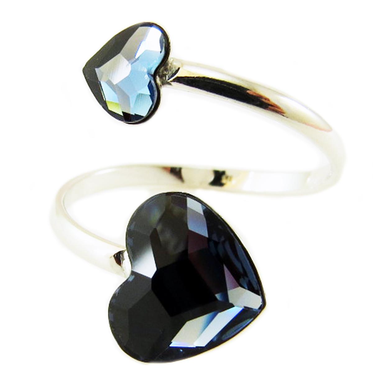 Bague Argent \'Love\' bleu (Crystal) - 10x8 et 6x5 mm - [Q3325]