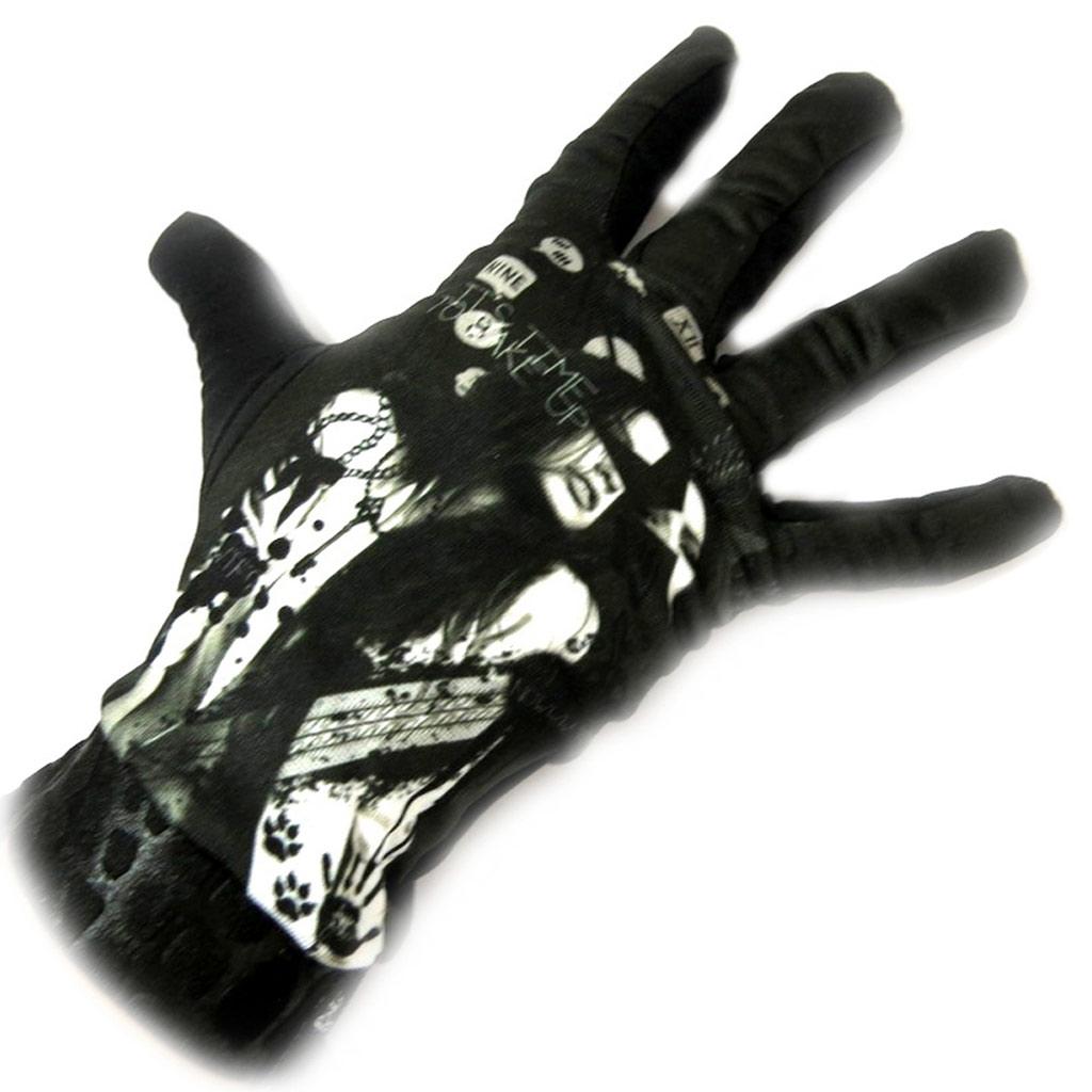 Gants créateur \'Rock\' noir blanc - [L5387]