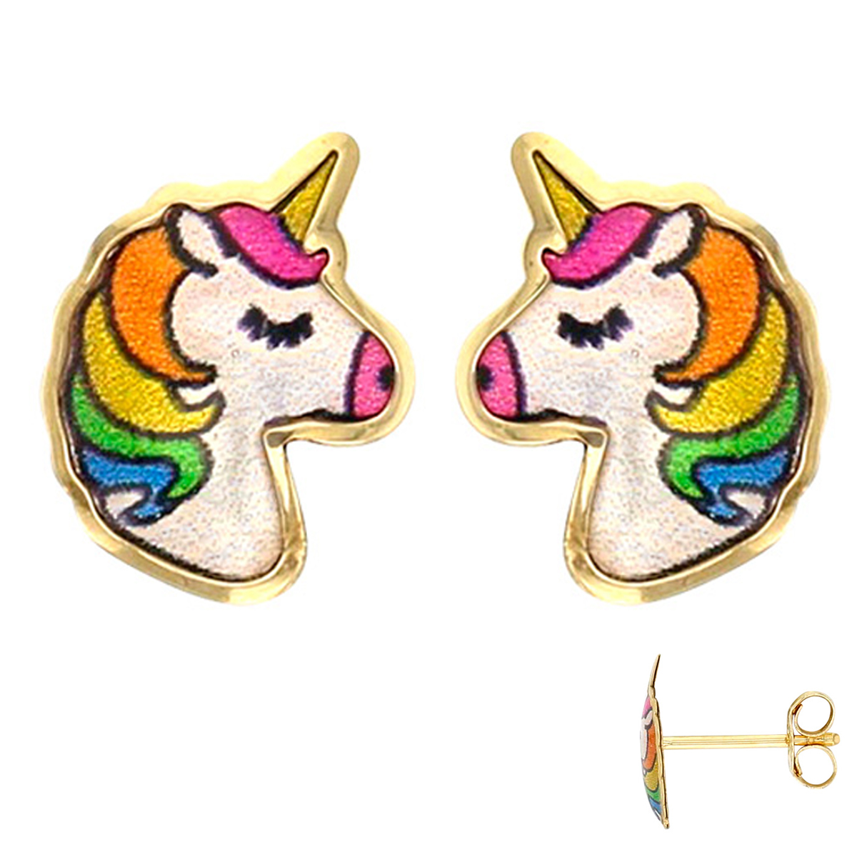 Boucles d\'Oreilles \'Licorne My Unicorn\' multicolore (Or - 9 carats) - 8x6 mm - [Q3343]
