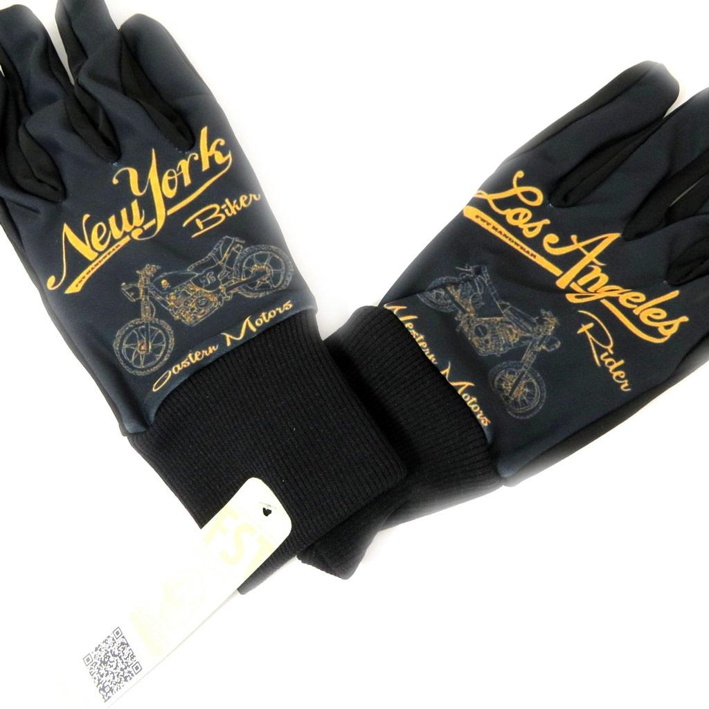 Gants créateur homme \'Bikers\' noir doré - [L5396]