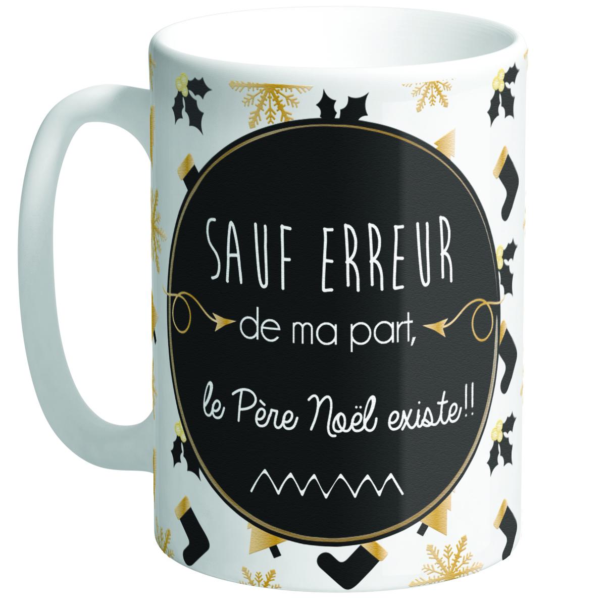 Grand mug céramique \'Messages Noël\' noir blanc (Sauf erreur de ma part, le Père Noël existe !) - hauteur 117 cm diamètre 85 cm - [Q3355]