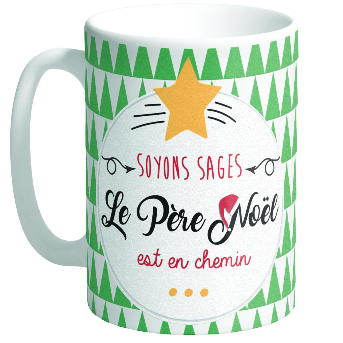 Grand mug céramique \'Messages Noël\' vert blanc (Soyons sages, le Père Noël est en chemin ) - hauteur 117 cm diamètre 85 cm - [Q3356]