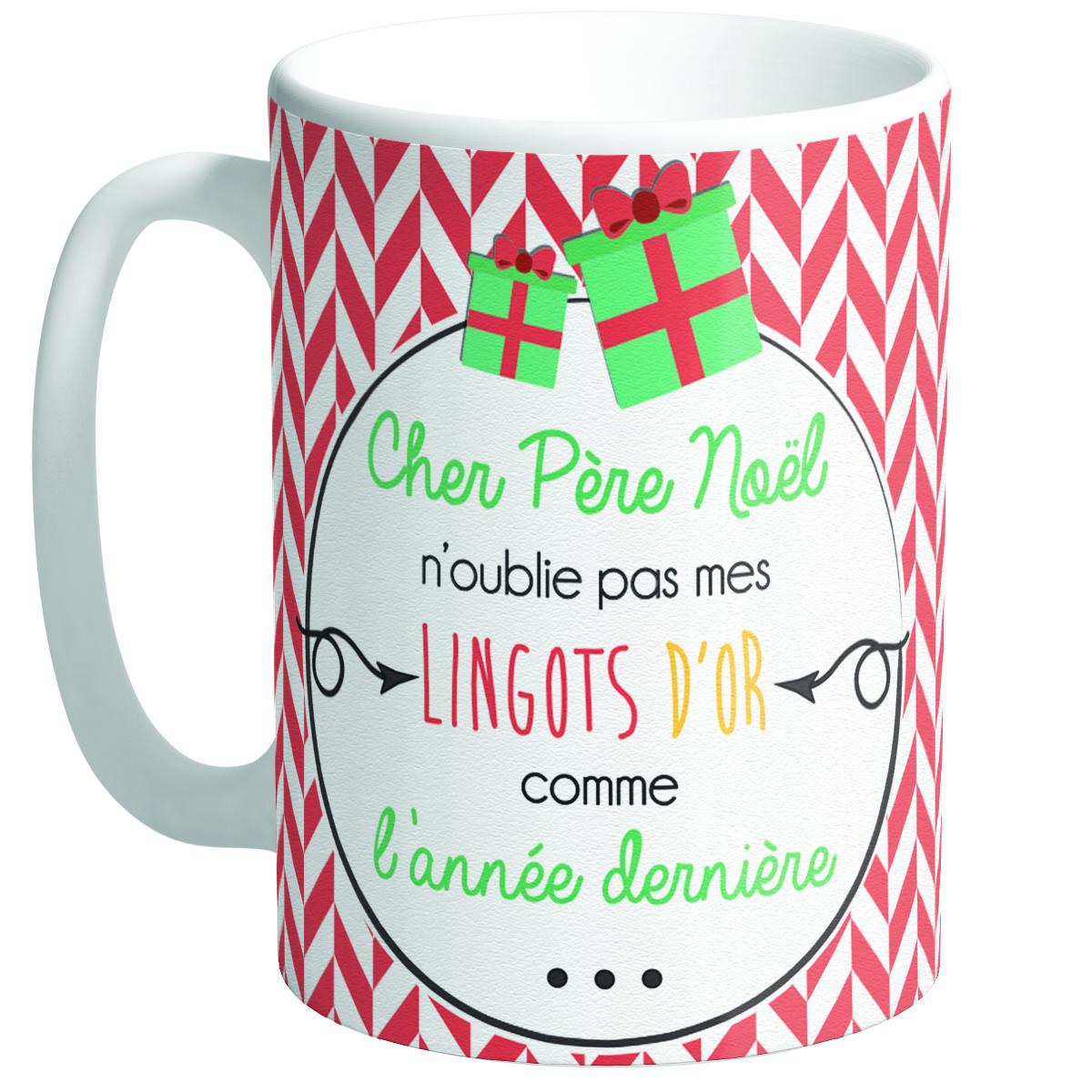 Grand mug céramique \'Messages Noël\' vert rouge (Cher Père Noël)  - [Q3357]
