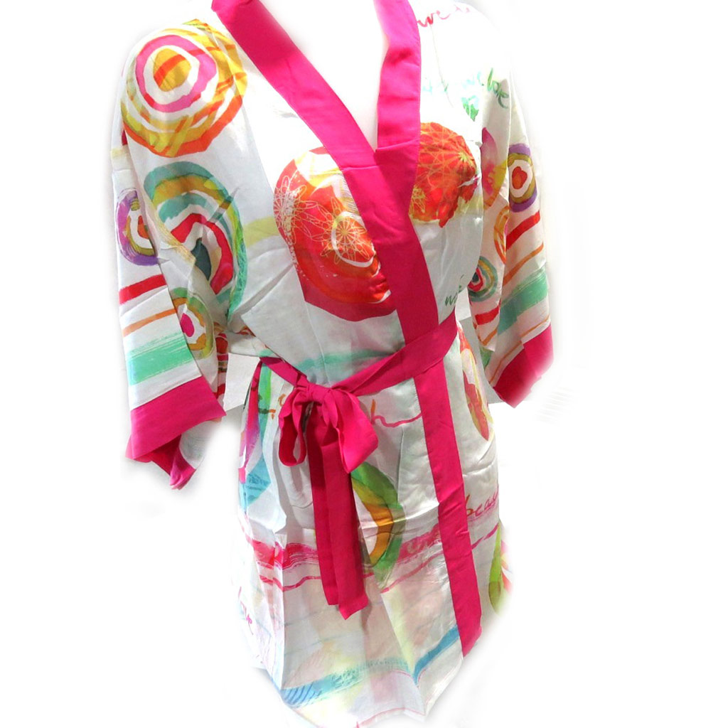 Kimono créateur \'Desigual\' blanc multicolore - [L5476]