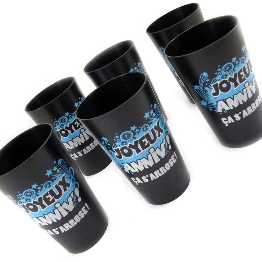 Set de 6 verres humoristiques \'Joyeux Anniv !\' noir bleu - [L5482]
