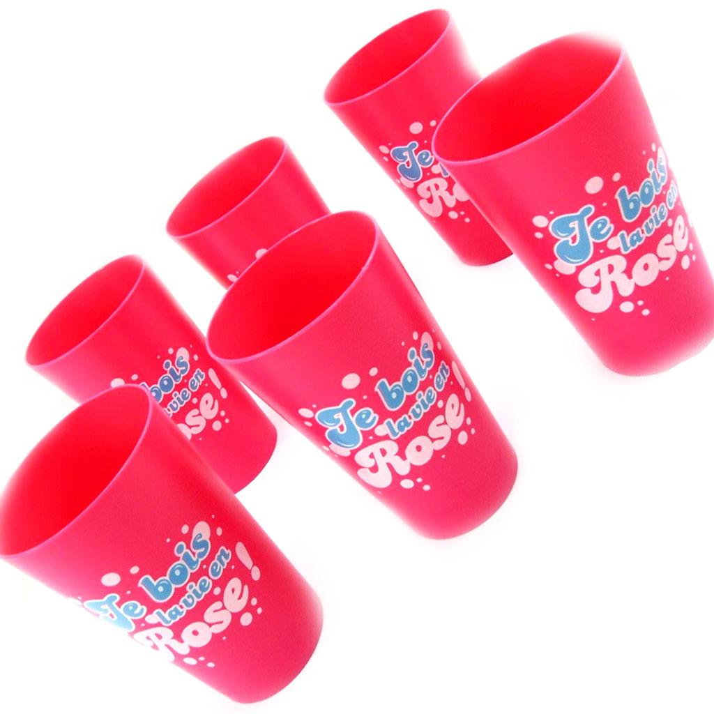 Set de 6 verres humoristiques \'La vie en Rose\' rose - [L5487]