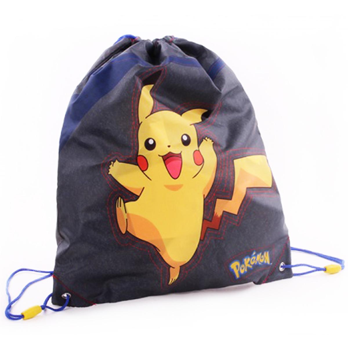 Sac de gym créateur \'Pokemon\' gris jaune - 44x37 cm - [Q3473]
