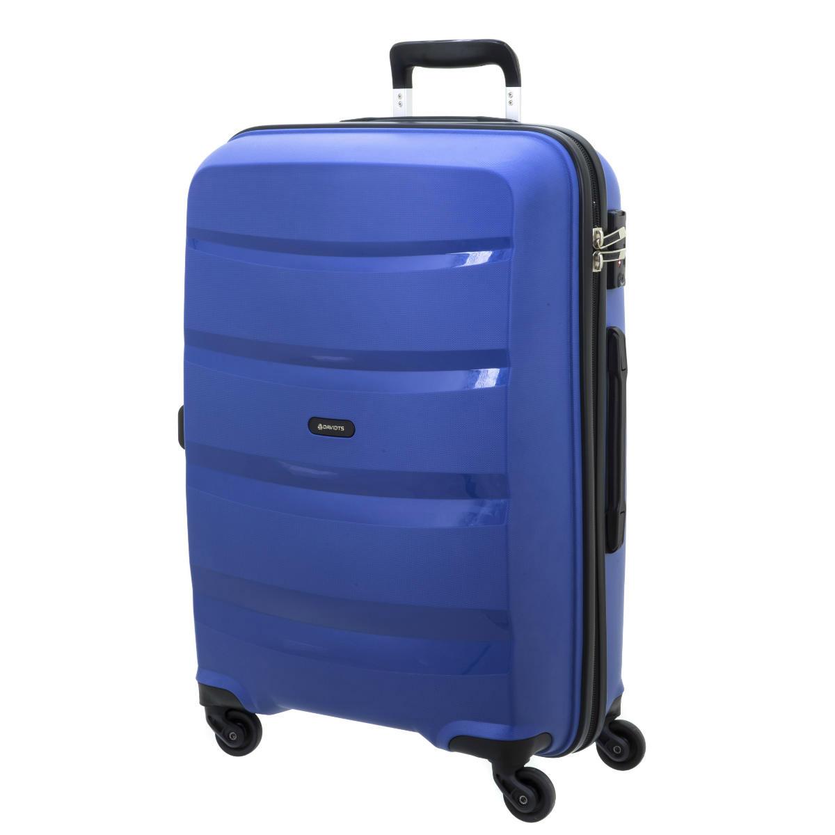 Valise trolley coque polypropylène \'Davidt\'s\' bleu - 66x45x26 cm - [Q3496]
