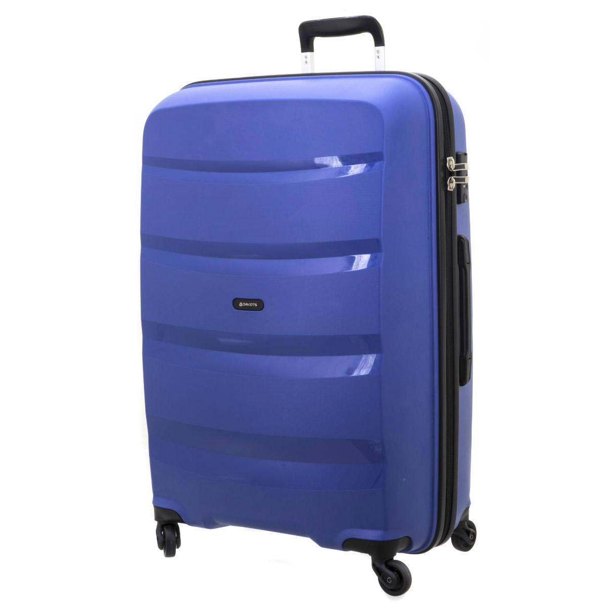 Valise trolley coque polypropylène \'Davidt\'s\' bleu - 74x49x30 cm - [Q3499]