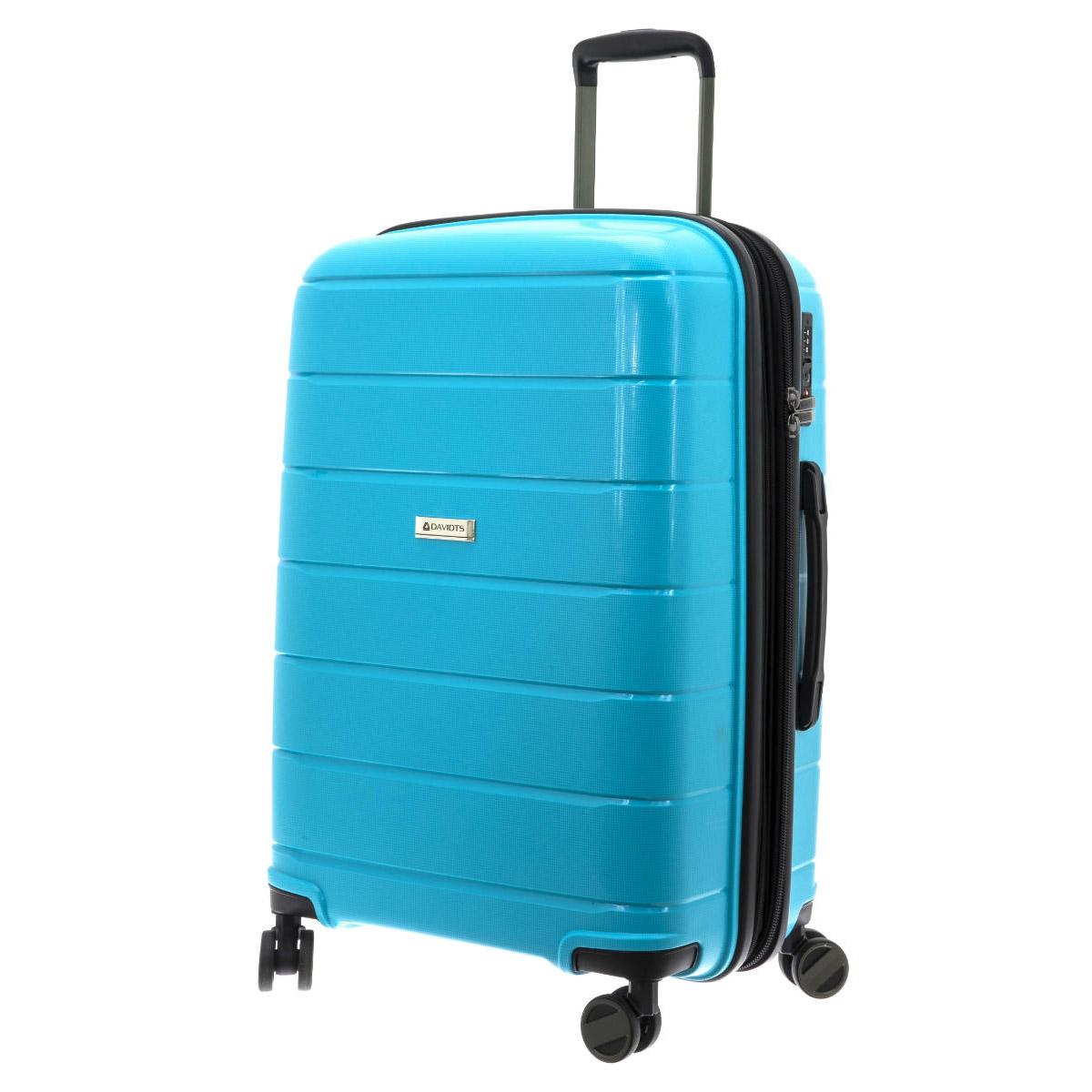 Valise trolley coque polypropylène \'Davidt\'s\' turquoise (soufflet extensible) - 66x45x26 cm - [Q3501]