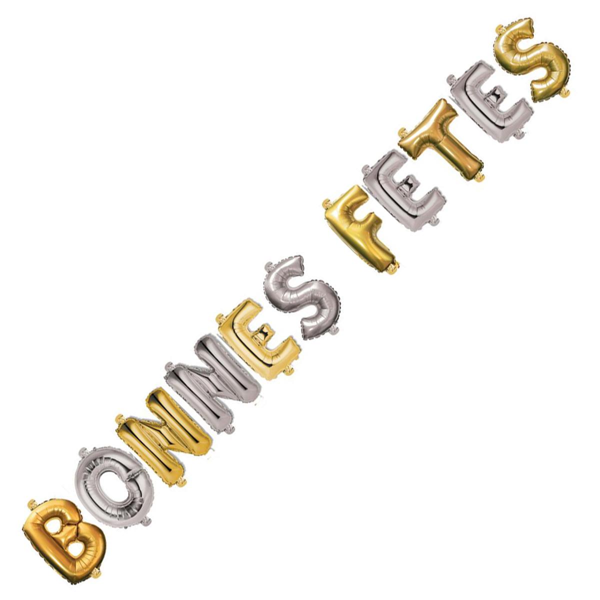 Ballons métalliques \'Bonnes Fêtes\' doré argenté - 35 cm - [Q3610]