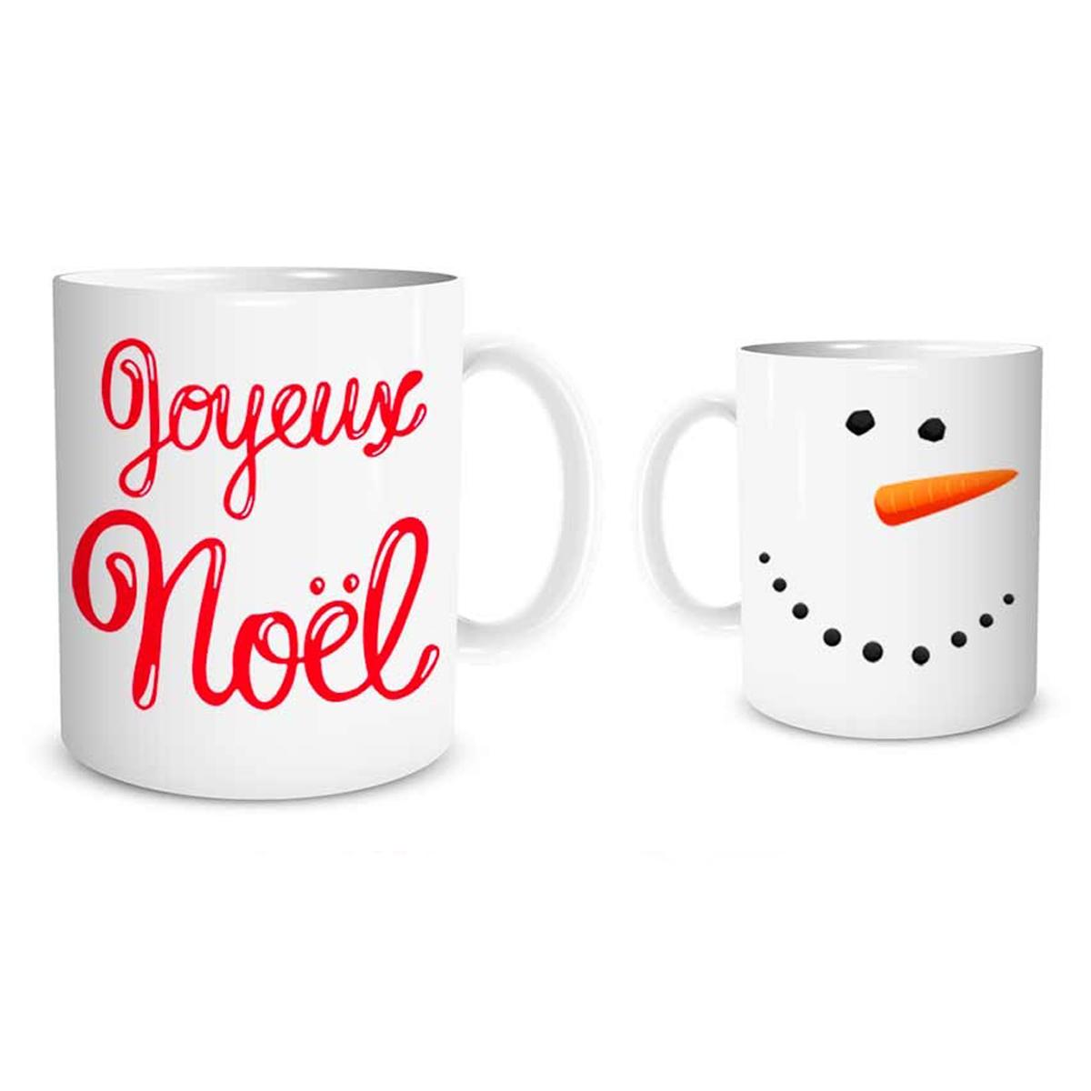 Mug céramique \'Joyeux Noël\' rouge blanc (bonhomme de neige, carotte) - 95x8 cm - [Q3631]