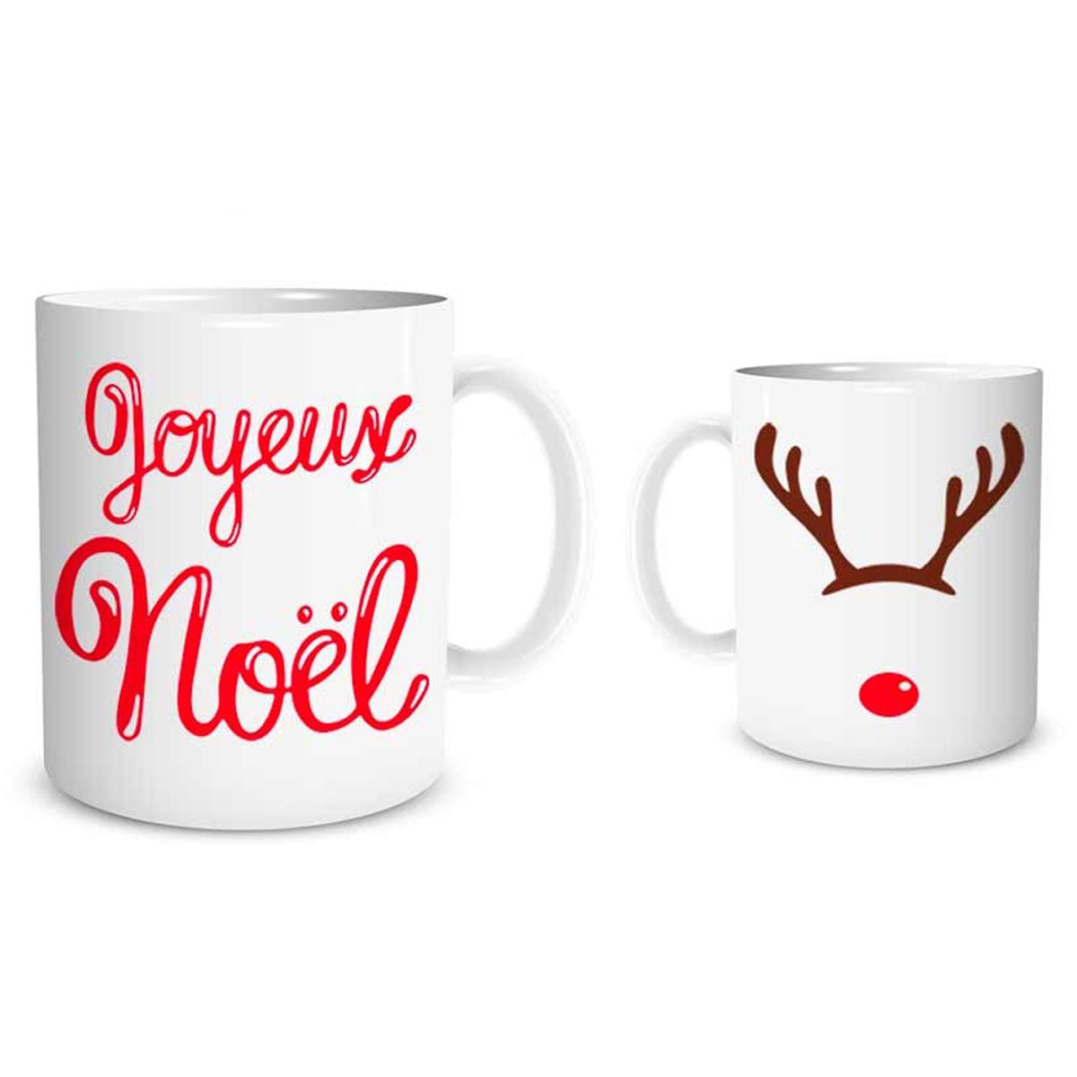 Mug céramique \'Joyeux Noël\' rouge blanc (rennes, nez de clown) - 95x8 cm - [Q3632]