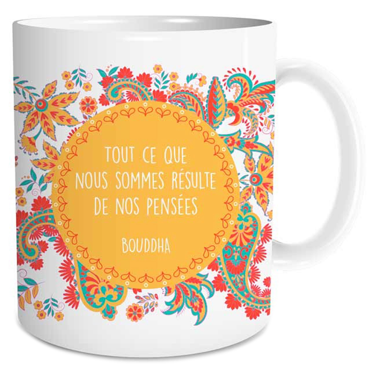 Mug céramique \'Sagesse\' (Tout ce que nous sommes résulte de nos pensées - Bouddha) - 95x8 cm - [Q3657]