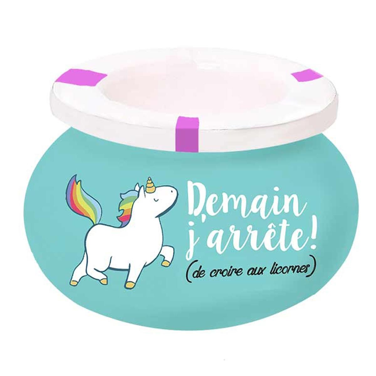 Cendrier marocain céramique \'Licorne My Unicorn\' turquoise (Demain j\'arrête ! de croire aux licornes) - 9x6 cm - [Q3675]
