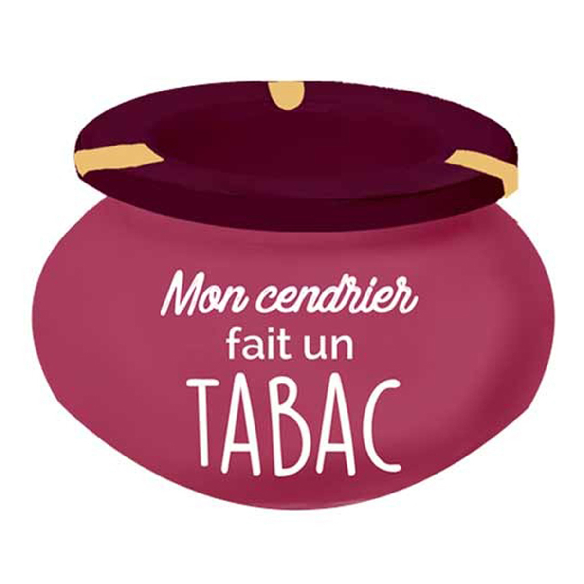 Cendrier marocain céramique \'Messages\' rose violet (Mon cendrier fait un tabac) - 9x6 cm - [Q3679]