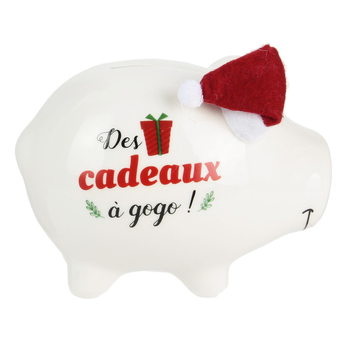 Tirelire céramique \'Cochon Noël\' (Des cadeaux à gogo !) - 11x9x7 cm - [Q3840]