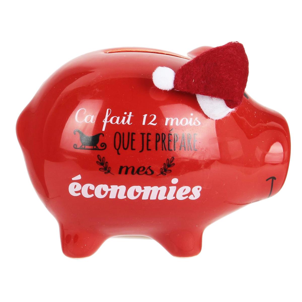 Tirelire céramique \'Cochon Noël\' (ça fait 12 mois que je prépare mes économies) - 11x9x7 cm - [Q3841]