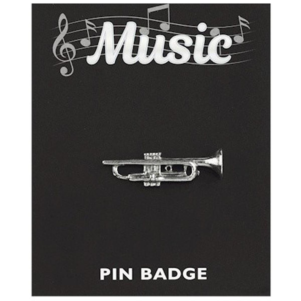 Broche pin\'s \'Musique\' argenté (trompette) - 35x10 mm - [Q3881]