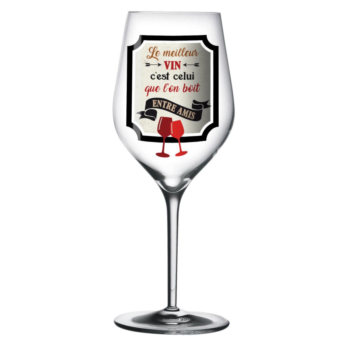 Verre à vin \'Messages\' (Le meilleur vin c\'est celui que l\'on boit entre Amis) - 23 cm - [Q3901]