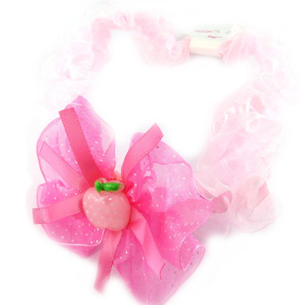 Bandeau enfant \'Fraise\' rose  - [L6357]